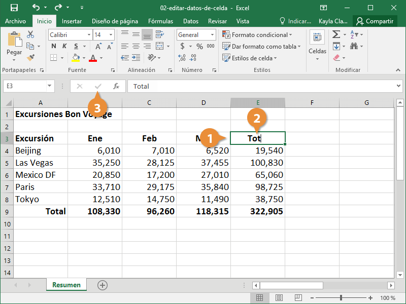 Editar Datos de Celda