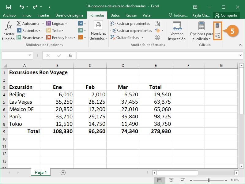 Opciones de Cálculo de fórmulas
