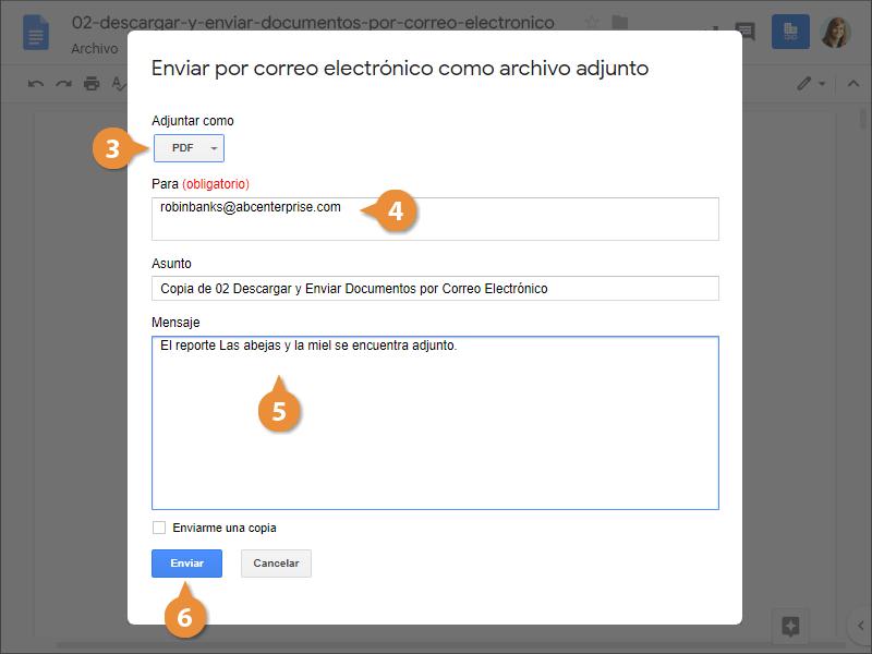 Descargar y Enviar Documentos por Correo Electrónico