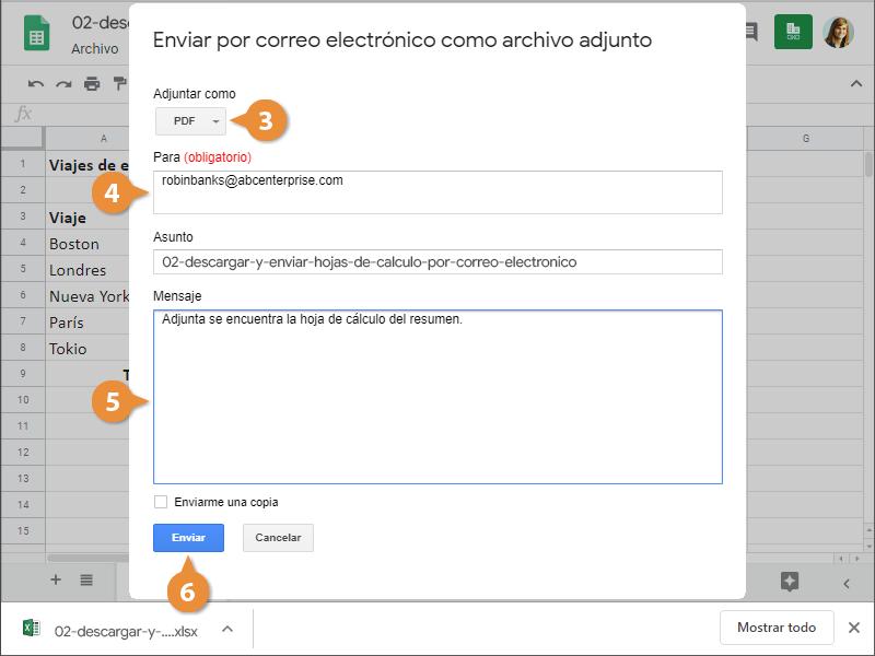 Descargar y Enviar Hojas de Cálculo por Correo Electrónico