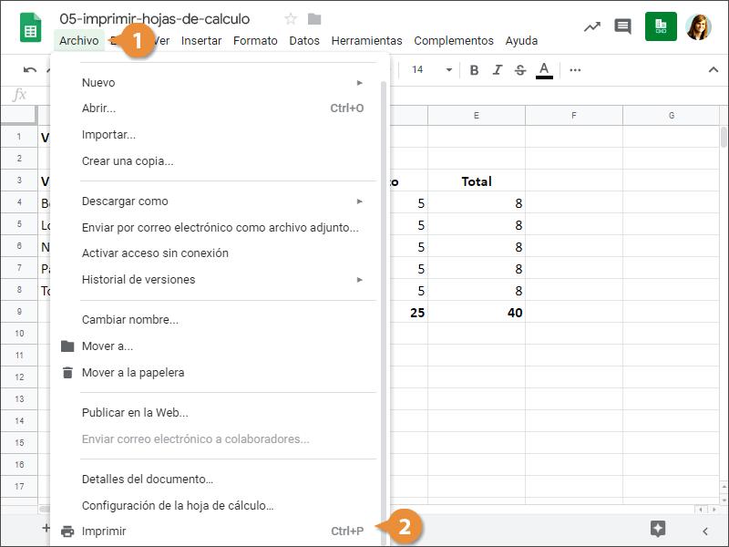 Imprimir Hojas de Cálculo
