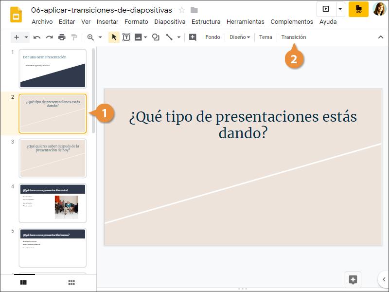 Aplicar Transiciones de Diapositiva