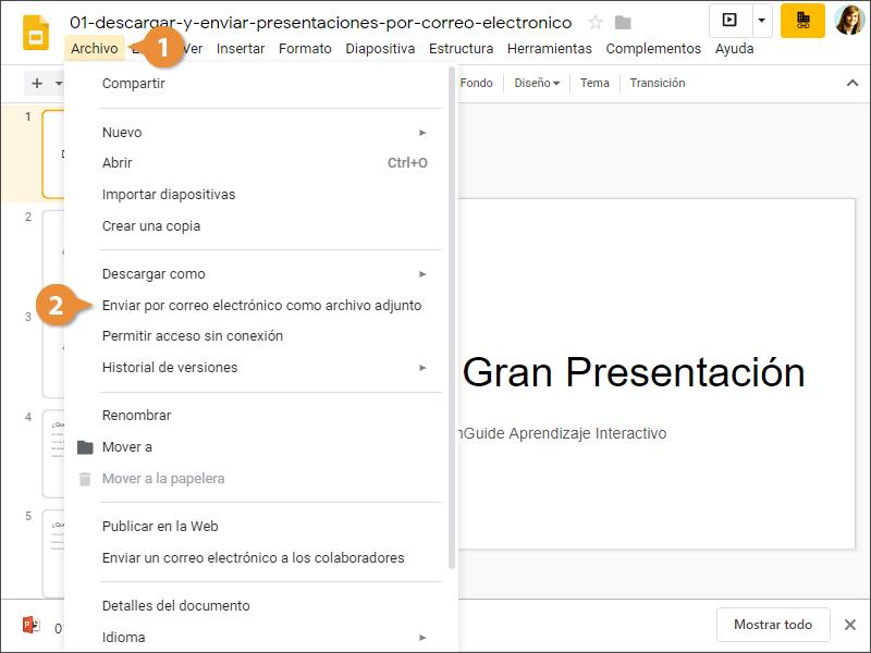 Descargar y Enviar Presentaciones Por Correo Electronico