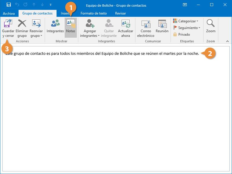 Modificar Grupos de Contactos