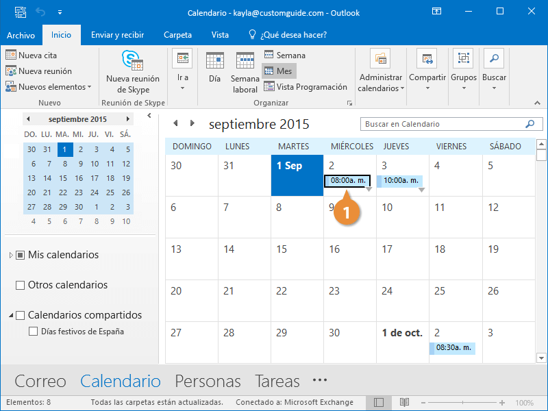 Reenviar Elementos del Calendario