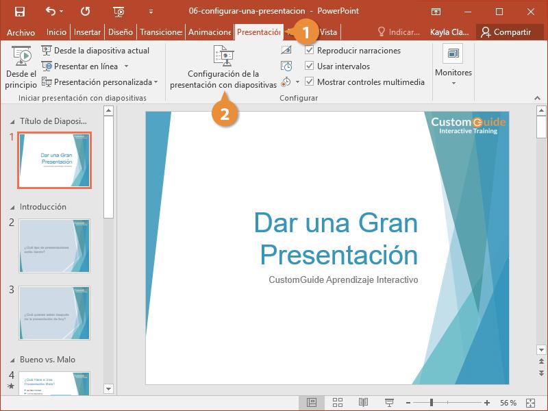 Configurar una Presentación