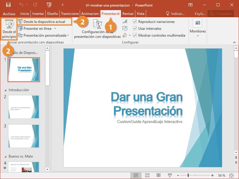 Mostrar una Presentación
