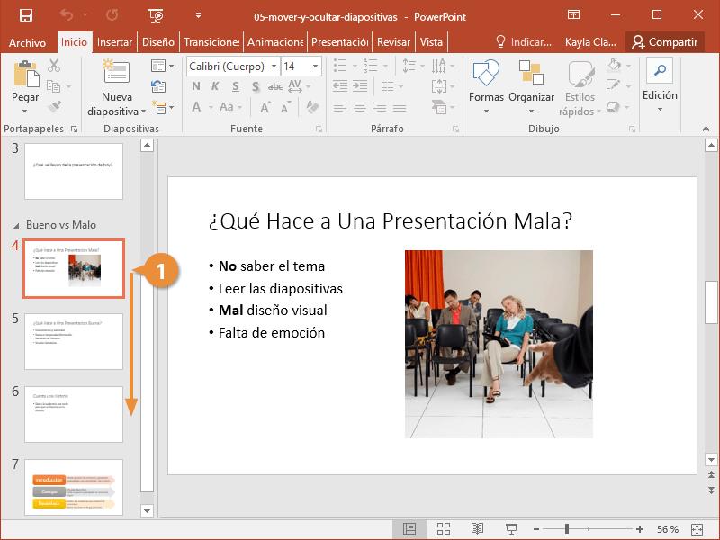 Mover y Ocultar Diapositivas