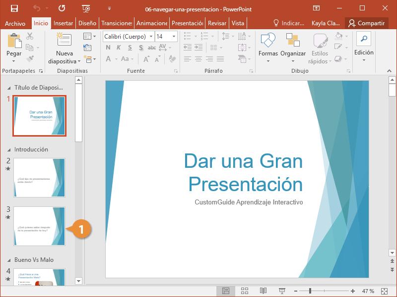 Navegar una Presentación