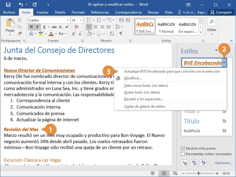 Aplicar y Modificar Estilos en un Documento de Word