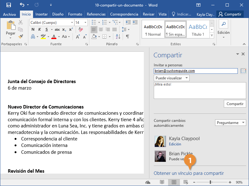 Compartir un documento