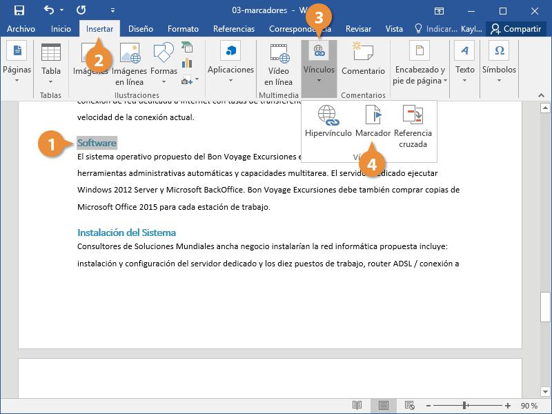 Marcadores en Documentos de Word