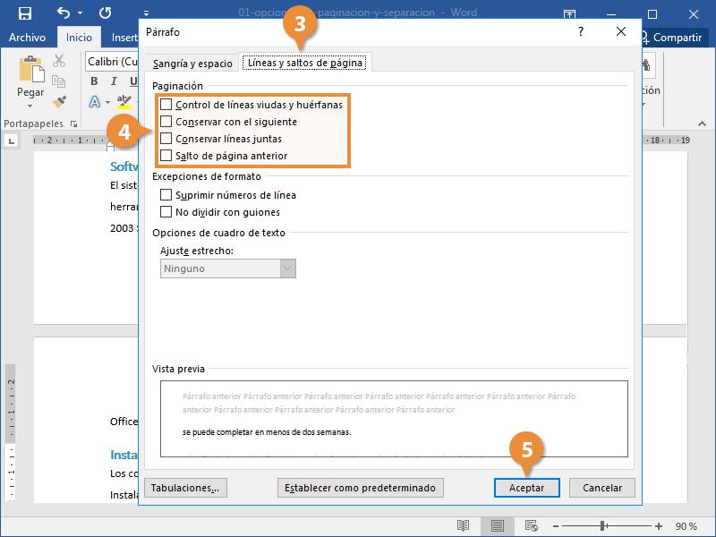 Opciones de Paginación y Separación en un Documento de Word.