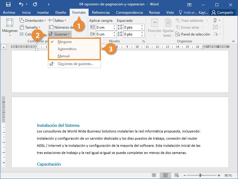 Controlar la División de Palabras en un Documento de Word.