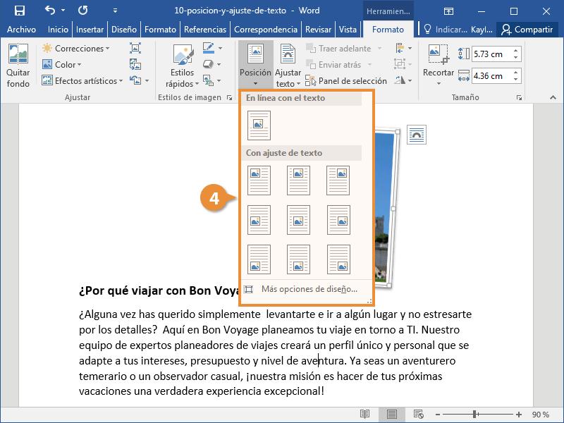 Posición y Ajuste de texto en un Documento de Word