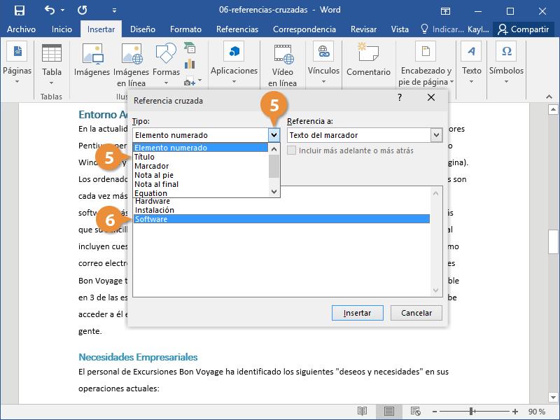 Insertar una Referencia Cruzada en un Documento de Word.