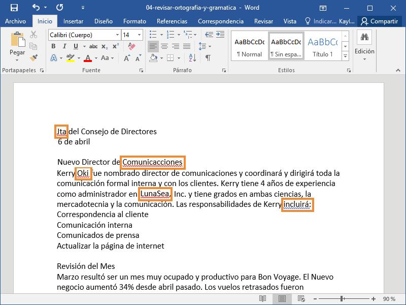 Revisar Ortografía y Gramática