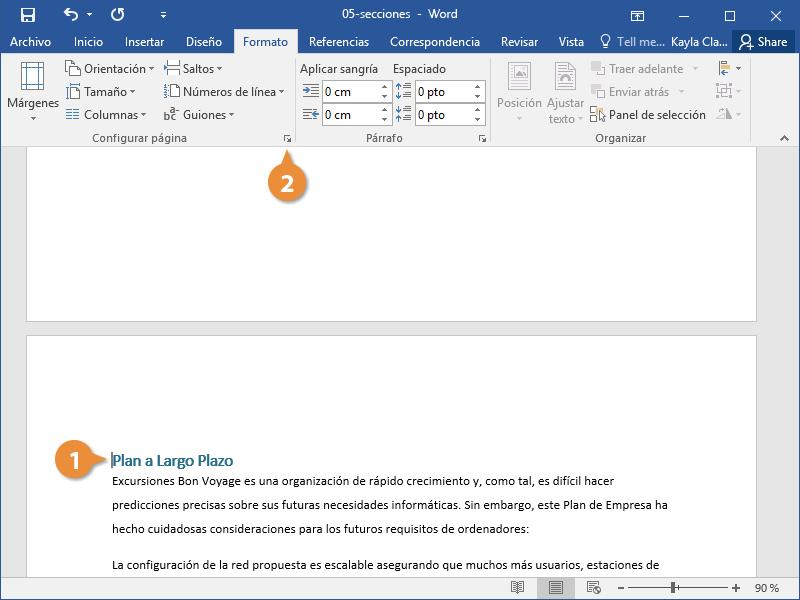 Personalizar un Diseño de Sección en un Documento de Word.