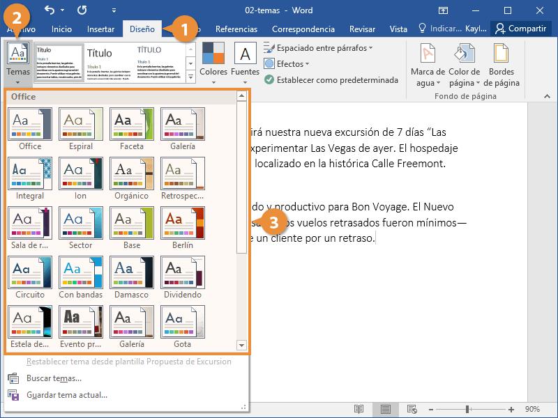Temas en Documentos de Word