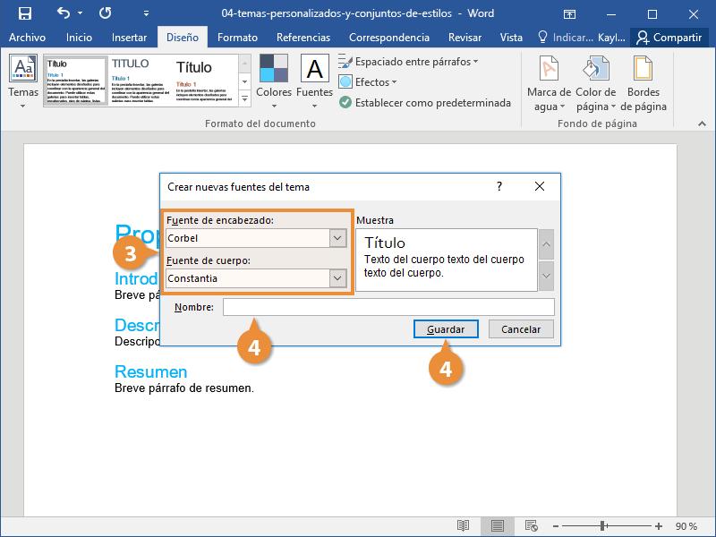 Temas Personalizados y Conjuntos de Estilos en Documentos de Word
