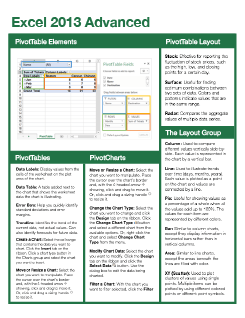 Excel 2013 Advanced Quick Reference
