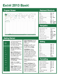 Excel 2013 Basic Quick Reference