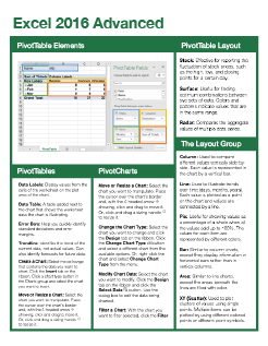 Excel 2016 Advanced Quick Reference