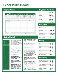 Excel 2016 Basic Quick Reference