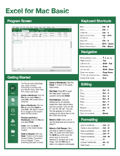 Excel 2016 Mac Basic Quick Reference