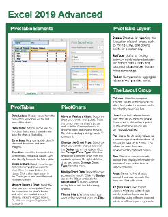 Excel 2019 Advanced Quick Reference