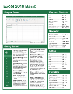 Excel 2019 Basic Quick Reference