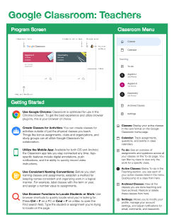 Google Classroom: Teachers Quick Reference