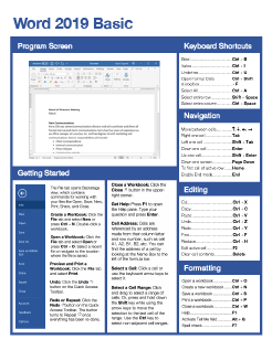 Word 2019 Basic Quick Reference