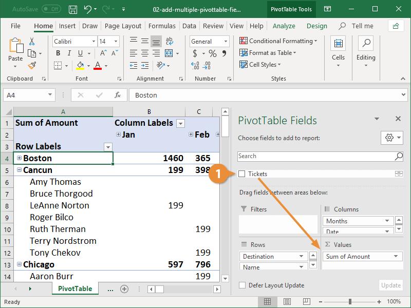 Add Multiple Pivottable Fields