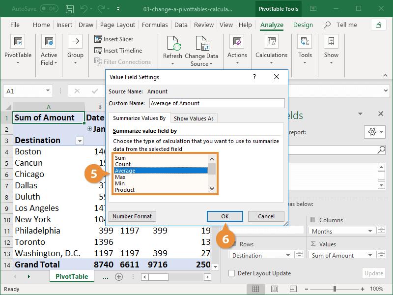 Change a Pivottables Calculation