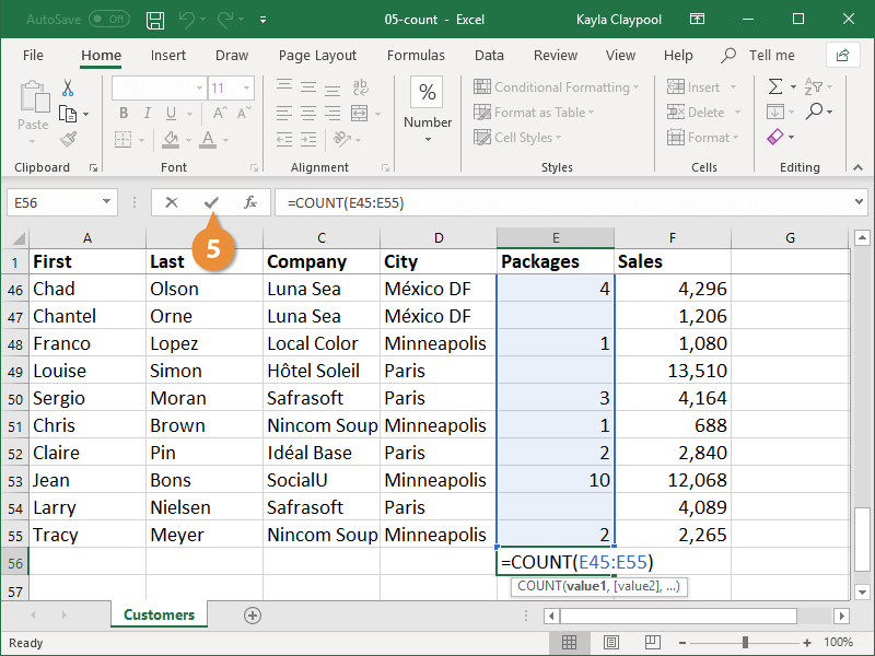 Create a Count Formula