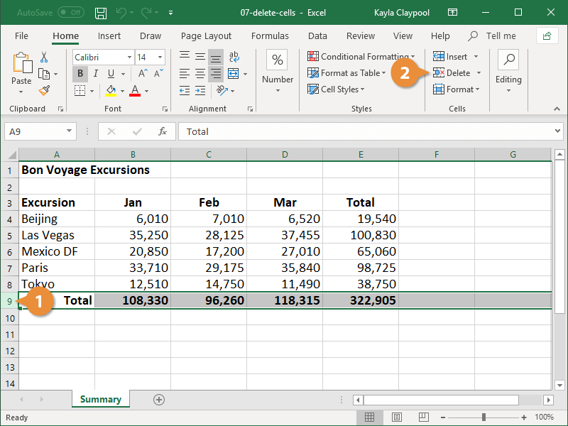 Delete Rows or Columns