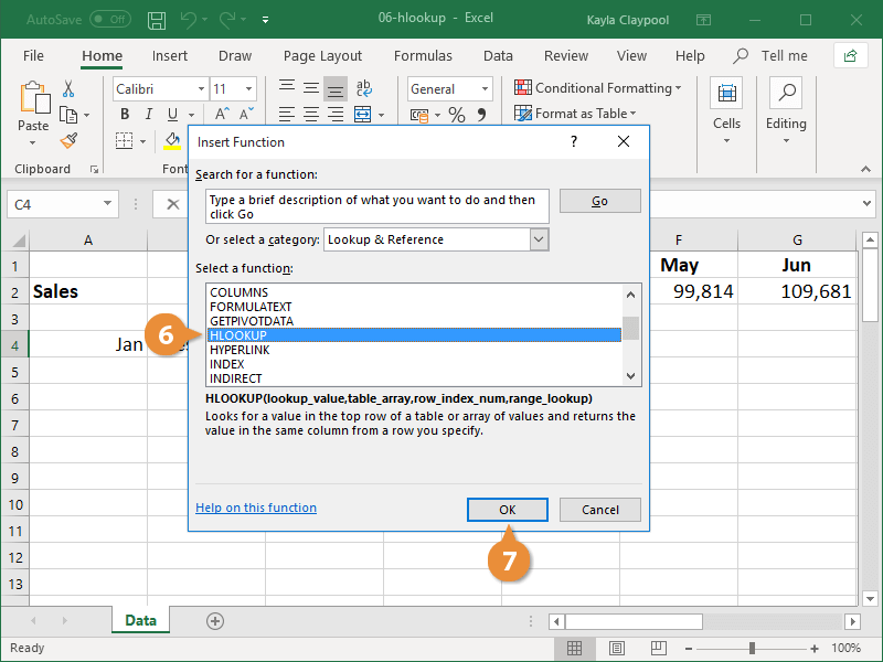 Insert a HLOOKUP Function