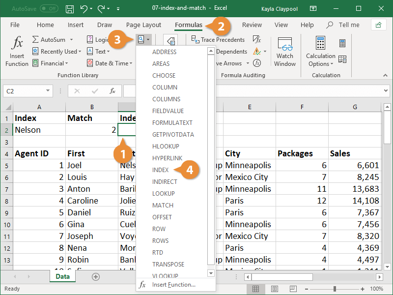 Combine the INDEX and MATCH Function