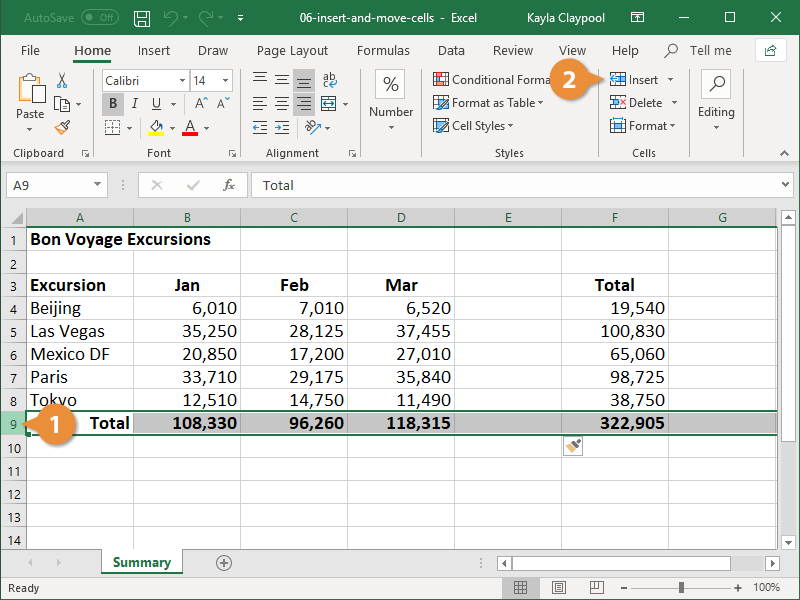 Insert Rows or Columns