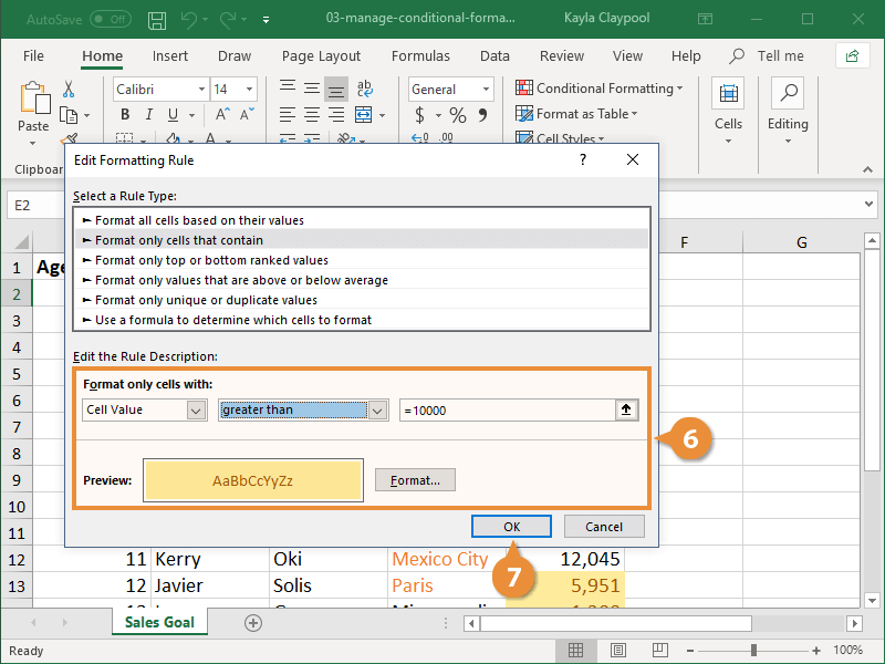 Edit a Conditional Formatting Rul