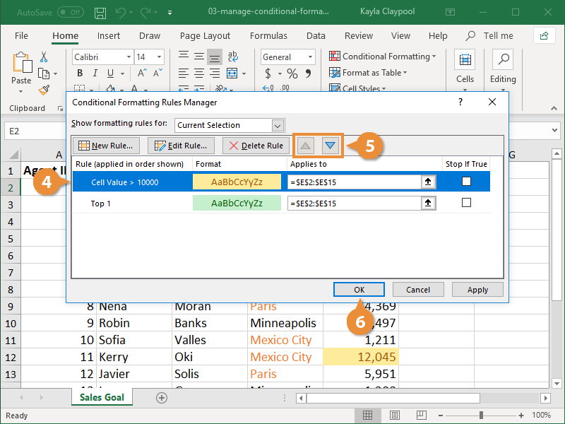 Change the Order of Conditional Formatting Rules
