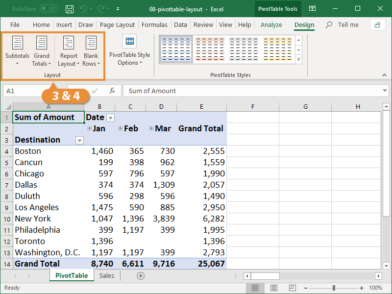 Pivottable Layout