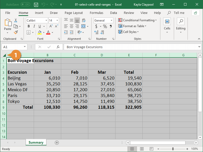 Select an Entire Worksheet