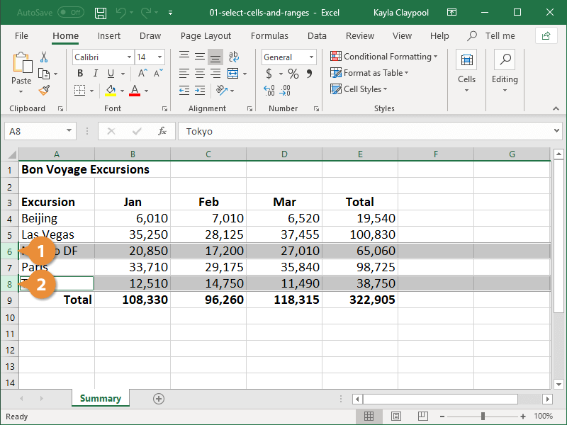Excel: Select Non-Adjacent Cells