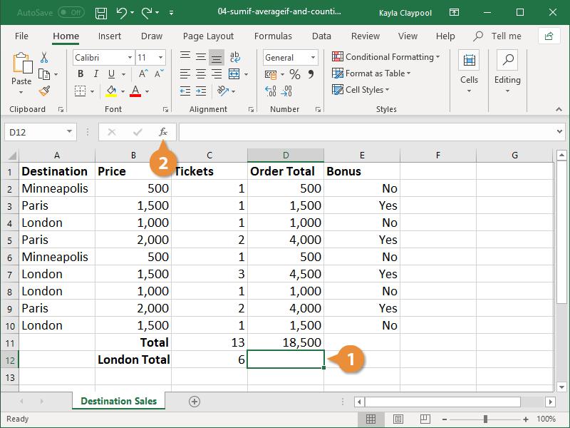 Create a SUMIF Formula