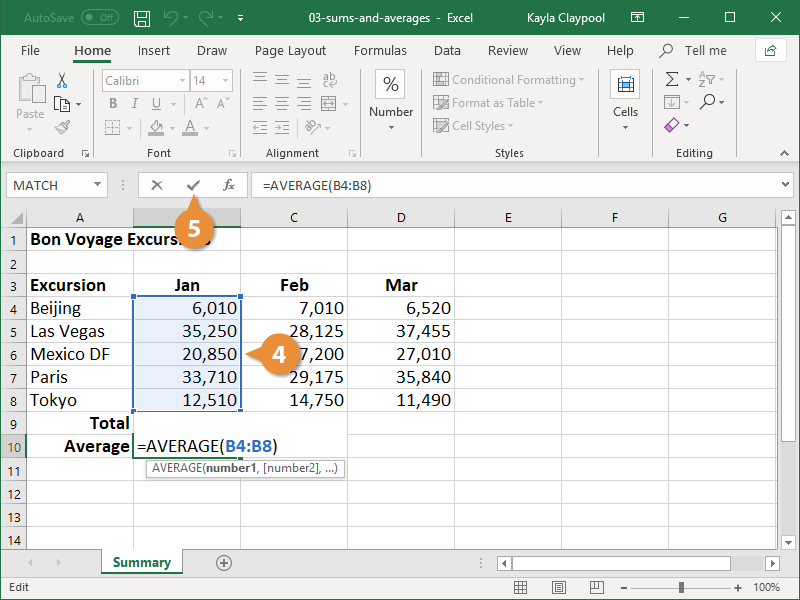 Create an Average Formula