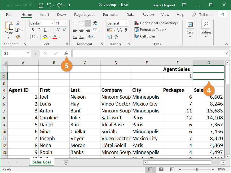 Insert a VLOOKUP Function