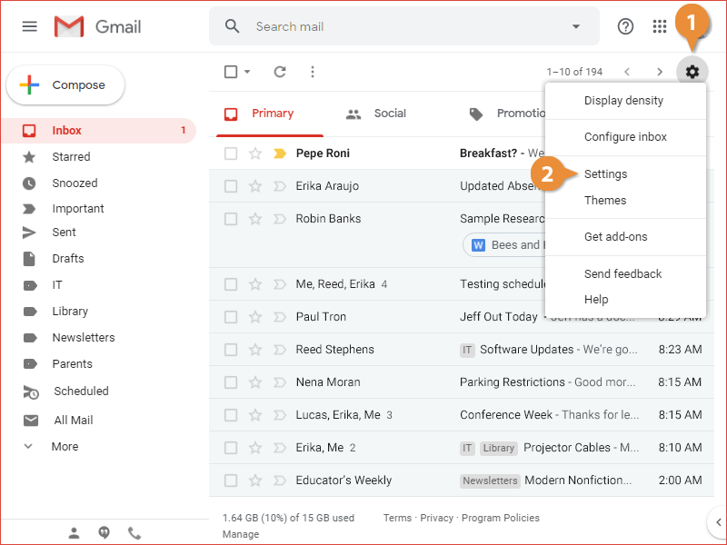 Change Email Settings