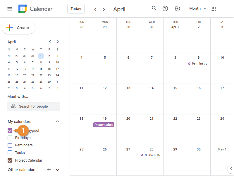 View and Hide Calendars